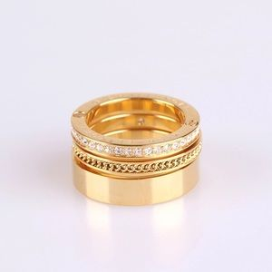 Michael Kors MK Pave Gold Layers Ring sz6